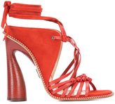 Paul Andrew lace-up strappy sandals - women - Wood/Leather/Calf Suede - 36