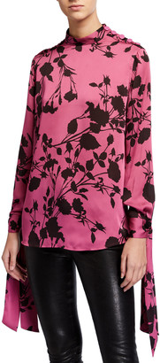 Equipment Avelaine Floral Mock-Neck Long-Sleeve Tie-Cuff Blouse