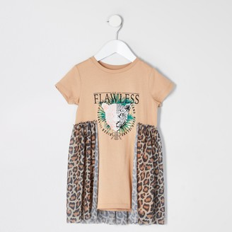 River Island Mini girls Beige printed mesh T-shirt dress