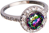 Rainbow Cubic Zirconia & Sterling Silver Halo Ring