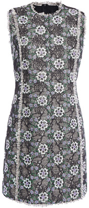 Giambattista Valli Embroidered Metallic Lace And Tweed Mini Dress