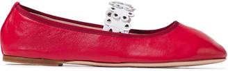 Red(V) Flower Puzzle Studded Leather Ballet Flats