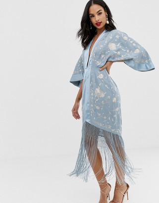 Asos Design DESIGN kimono embroidered midi dress with fringe hem-Beige