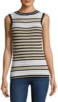 Carolina Herrera Women's Striped Silk Crewneck Shell