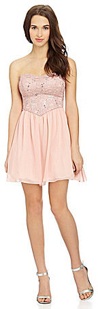 B. Darlin Strapless Lace Chiffon Dress