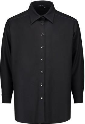 Eva D. Shirt 'Axl' Black Of Wool With Leather Yoke