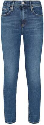 A Gold E Agolde Toni Mid-Rise Straight Jeans
