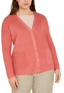 Eileen Fisher Plus Size Boyfriend Cardigan