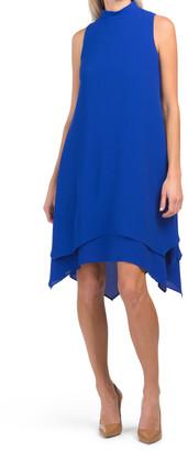 Catalina Crepe Mock Neck Tiered Shift Dress