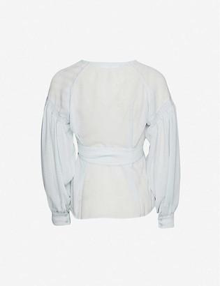 Samsoe & Samsoe Merrill puffed-sleeve crepe wrap-shirt