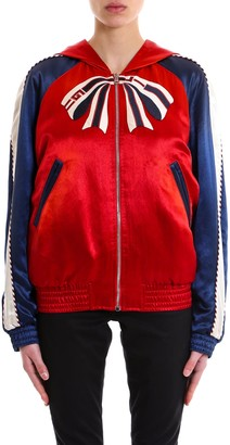 Gucci Hooded Embroidery Bomber Jacket