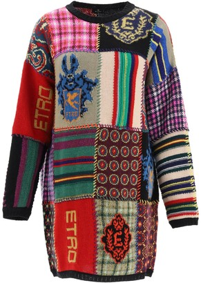 Etro PATCHWORK MINI DRESS 42 Red, Green, Blue Wool
