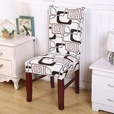 Elastic Stretch Spandex Chair Cover Removable Seat Protector Washable Slipcover for Hotel Dining Room Wedding Banquet Decor (White Check)