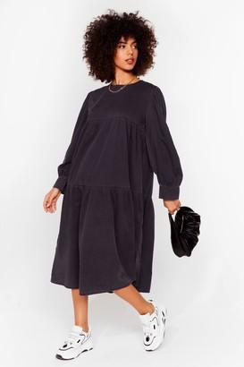 Nasty Gal Womens Smock and Roll Denim Midi Dress - Washed Black