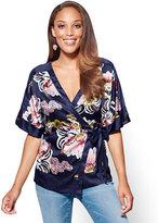 New York & Co. 7th Avenue - Kimono Top - Navy - Floral