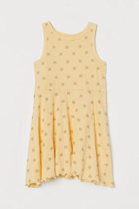 H&M Ribbed Jersey Dress - Yellow