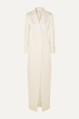 Rebecca De Ravenel Satin-trimmed Silk And Wool-blend Jacquard Gown - Ivory