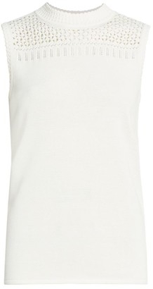 St. John Open Stitch Knit Shell Top