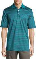 Bobby Jones Short-Sleeve Striped Cotton Polo Shirt, Teal/Red