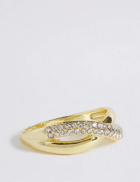 M&S Collection Gold Plated Diamanté Pave Ring