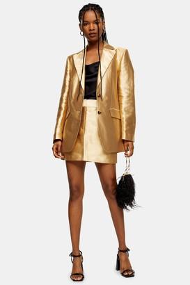 Topshop Womens Gold Satin Mini Skirt - Gold