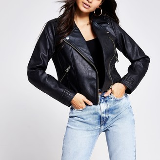 River Island Womens Petite Black faux leather stitched jacket