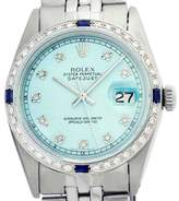 Rolex Datejust 1601 Stainless Steel & 18K White Gold Powder Blue Dial Diamond/Sapphire Mens Watch