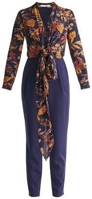 Paisie Midnight Floral Top Jumpsuit With Wrap Tie Waist