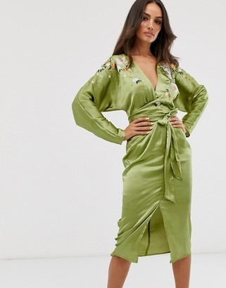 Asos Design DESIGN batwing midi dress in satin with embroidery-Green