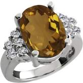 Gem Stone King 4.63 Ct Oval Whiskey Quartz White Diamond Sterling Silver Ring
