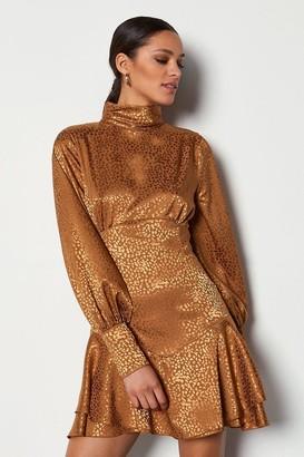 Karen Millen High Neck Fit And Flare Dress