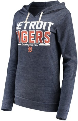 New Era Women's 5th & Ocean by Navy Detroit Tigers Jersey Established Tri-Blend Pullover Hoodie