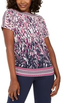 JM Collection Mixed-Print Rhinestone Dolman-Sleeve Top, Created For Macy's