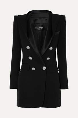 Balmain Hooded Button-embellished Satin-trimmed Crepe Blazer - Black