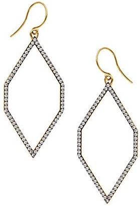 Adriana Orsini Edgy Two-Tone & Cubic Zirconia Medium Geometric Hoop Earrings