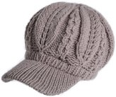 Siggi 100% Lamb Wool Thick Knit Visor Hats for Women Newsboy Bill Cap Warm Beige