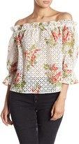 Flying Tomato Off-the-Shoulder Floral Print Eyelet Top