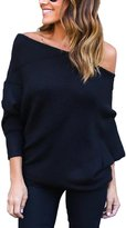 Suvimuga Women's Elegant Long Dolman Sleeve Off Shoulder Draped Blouse Sweatershirt M