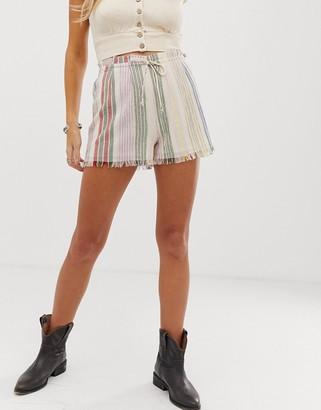En Creme high waist shorts with drawstring waist in tonal stripe co-ord