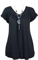 Xclusive Collection New Women Plus Size Necklace Gypsy Tops Womens Tunic Short Sleeve Tops (14/16, )