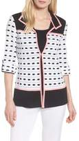 Ming Wang Textured Colorblock Check Jacket