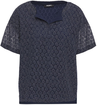 DKNY Flocked Cotton-blend Corded Lace Top