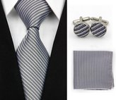 Quality Connection Traditional Classic Matching Tie, Cufflink and Pocket Square - 4 Piece Elegant Set - Grey with Black Stripes