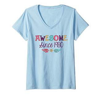 Womens Awesome Since 1980 T-Shirt 39th Birthday Gift Shirt V-Neck T-Shirt