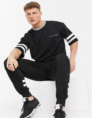 New Look t-shirt set with stripe detail in black