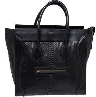 Celine Black Python and Leather Medium Luggage Tote