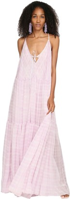 Jacquemus Check Printed Mousseline Maxi Dress