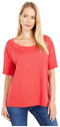 Chaser Linen French Terry 3/4 Sleeve Pullover (Cherry Bomb) Women's T Shirt