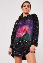 Missguided Black Astro Print Graphic Oversized T Shirt Dress