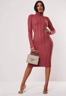 Missguided Pink Cable Knit Turtle Neck Midaxi Dress